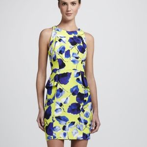 Milly floral peplum dress floral yelllow and blue